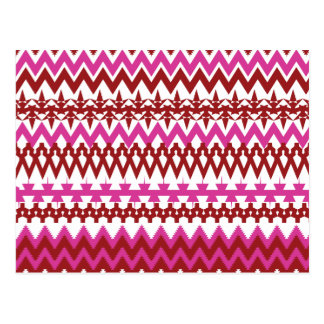 Colorful Hot Pink Red Tribal Chevron Pattern Postcard