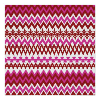 Colorful Hot Pink Red Tribal Chevron Pattern Posters