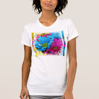 Colorful Hot Pink Teal Blue Daisies Flowers T-Shirt