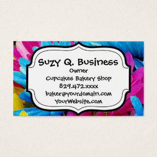 Colorful Hot Pink Teal Blue Gerber Daisies Flowers Business Card
