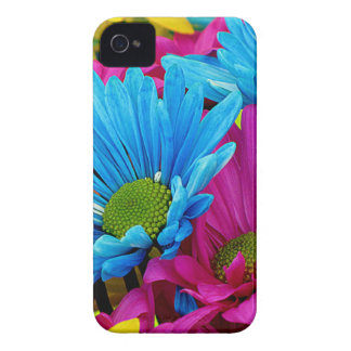 Colorful Hot Pink Teal Blue Gerber Daisies Flowers iPhone 4 Case-Mate Cases
