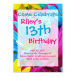 Colorful Hot Pink Teal Blue Gerber Daisies Flowers Personalized Invitations