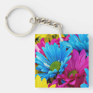 Colorful Hot Pink Teal Blue Gerber Daisies Flowers Double-Sided Square Acrylic Keychain
