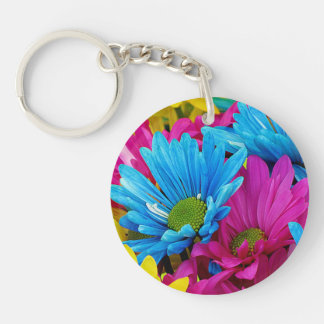 Colorful Hot Pink Teal Blue Gerber Daisies Flowers Double-Sided Round Acrylic Keychain