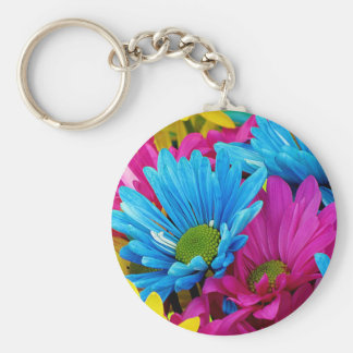 Colorful Hot Pink Teal Blue Gerber Daisies Flowers Keychain