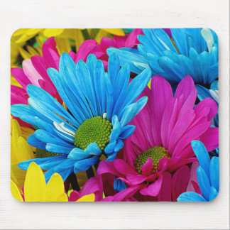 Colorful Hot Pink Teal Blue Gerber Daisies Flowers Mouse Pad