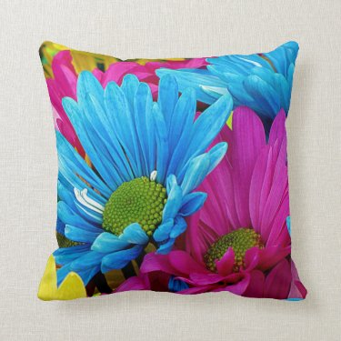 Colorful Hot Pink Teal Blue Gerber Daisies Flowers Pillow