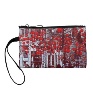 Colorful Hot Red Vintage Tree Key Coin Clutch