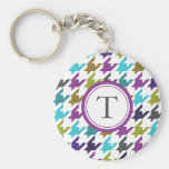 Colorful houndstooth pattern key chains