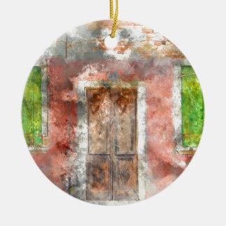 colorful house in Burano island Venice Italy Ceramic Ornament
