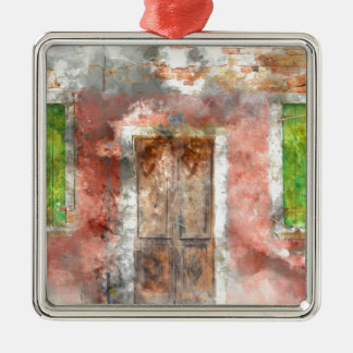 colorful house in Burano island Venice Italy Metal Ornament