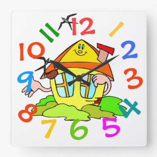 Colorful House Theme Kids Room Wall Clock