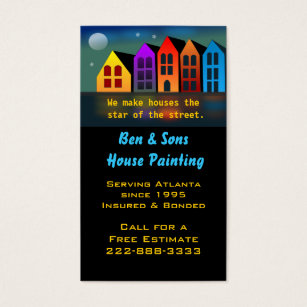 Home painting business cards templates zazzle colorful houses business card reheart Image collections