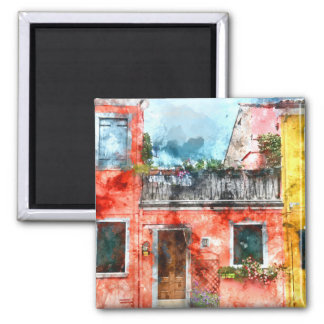Colorful houses in Burano island Venice Italy 2 Inch Square Magnet