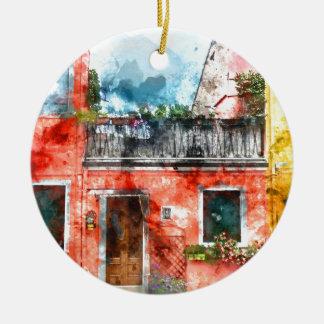 Colorful houses in Burano island Venice Italy Ceramic Ornament