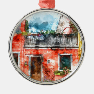 Colorful houses in Burano island Venice Italy Metal Ornament