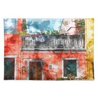 Colorful houses in Burano island Venice Italy Placemat