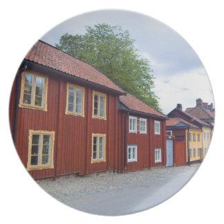 Colorful houses, Lotsgatan, Södermalm, Stockholm Melamine Plate
