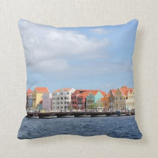 Colorful Houses of Willemstad, Curacao Throw Pillow