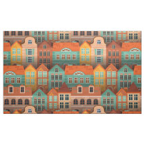 Colorful houses pattern fabric