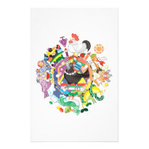 Colorful hue circle gradation and black and white stationery