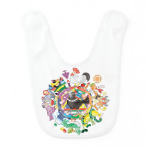 colorful hue circle gradation with black and white baby bib