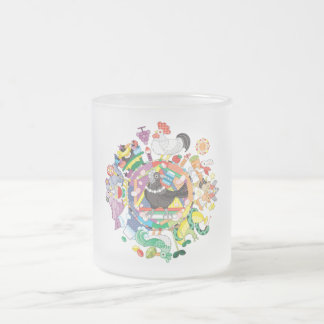 colorful hue circle gradation with black and white frosted glass coffee mug
