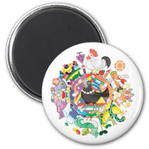 colorful hue circle gradation with black and white magnet