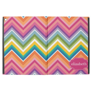 Colorful Huge Chevron Pattern with name iPad Pro Case