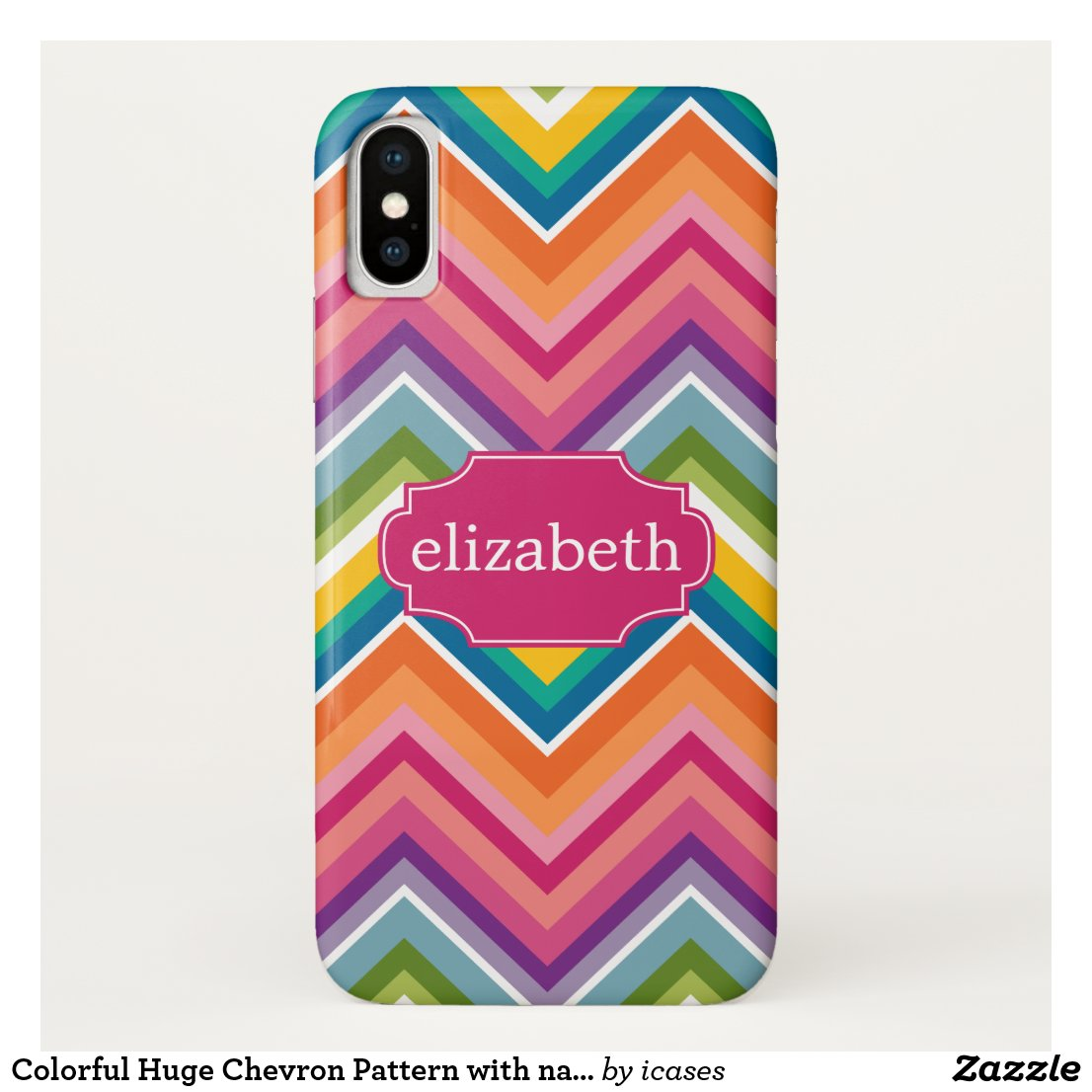 Colorful Huge Chevron Pattern with name iPhone X Case