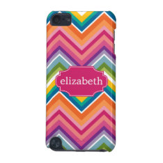 Colorful Huge Chevron Pattern With Name Ipod Touch 5g Case at Zazzle