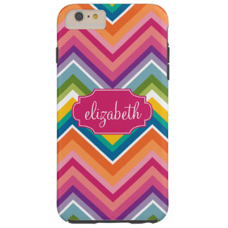 Colorful Huge Chevron Pattern with name Tough iPhone 6 Plus Case