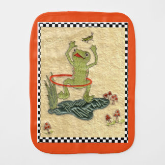 "Colorful Hula Hooping Frog With Cricket"" Burp Cloth"