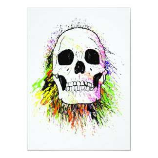 Colorful Human Skull Card