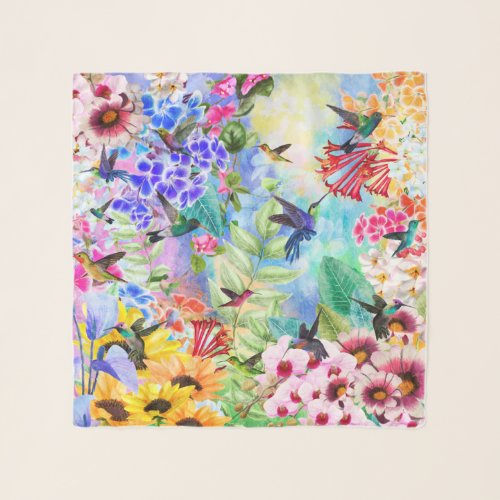 Colorful Humming Birds and Flowers Scarf