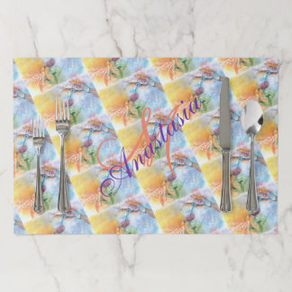 COLORFUL HUMMING BIRDS MONOGRAM PARTY PAPER PLACEMAT