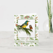 Colorful Hummingbird and butterfly Birthday Card