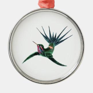 Colorful Hummingbird Metal Ornament