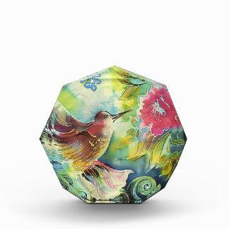 Colorful Hummingbird Silk Art Painting Acrylic Award