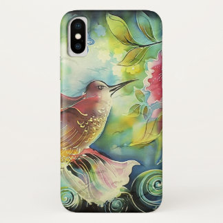Colorful Hummingbird Silk Art Painting iPhone X Case