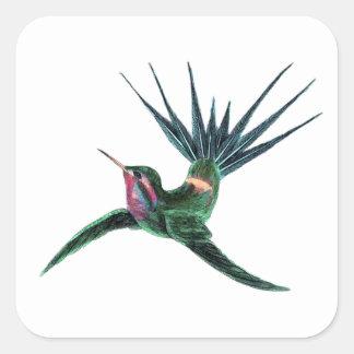 Colorful Hummingbird Square Sticker