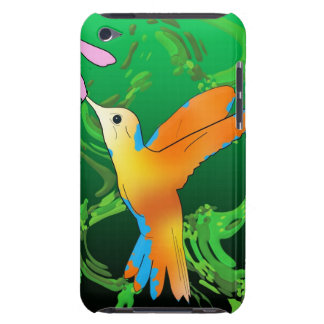 Colorful hummingbird with a green background iPod touch case