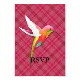Colorful Hummingbird with Vivid Pink Plaid Card