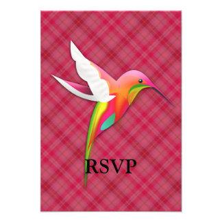 Colorful Hummingbird with Vivid Pink Plaid Custom Invite
