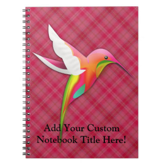 Colorful Hummingbird with Vivid Pink Plaid Notebook