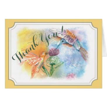 COLORFUL HUMMINGBIRDS THANK YOU CARD