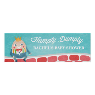 Colorful Humpty Dumpty Baby Shower Party Banner Poster