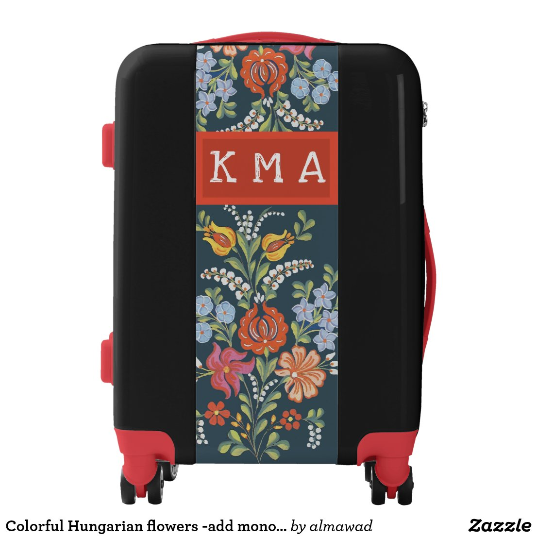Colorful Hungarian flowers -add monogram Luggage