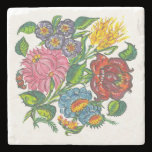 Colorful Hungarian flowers Stone Coaster