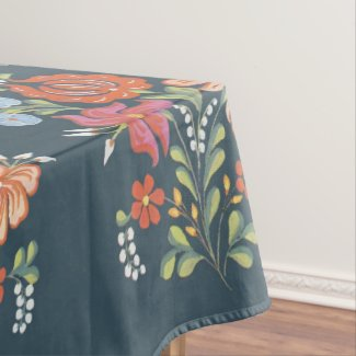 Colorful Hungarian Flowers Tablecloth